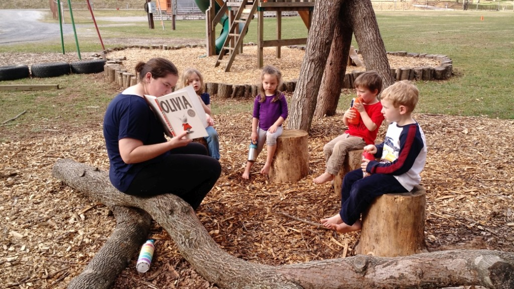 Story time is regularly held outside.